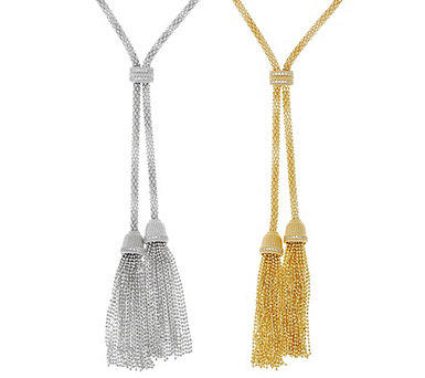 Judith Ripka Sterling Silver or 14K Clad Verona Tassel Necklace - J56055