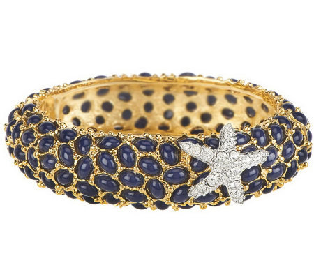 Kenneth Jay Lane's Neptune Cabochon Bangle Bracelet
