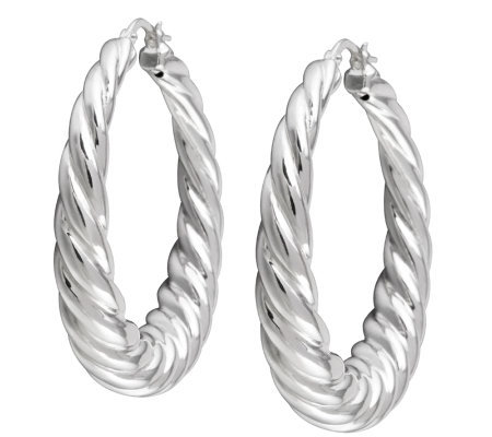 "UltraFine Silver 1-1/2"" Twisted Hoop Earrings"