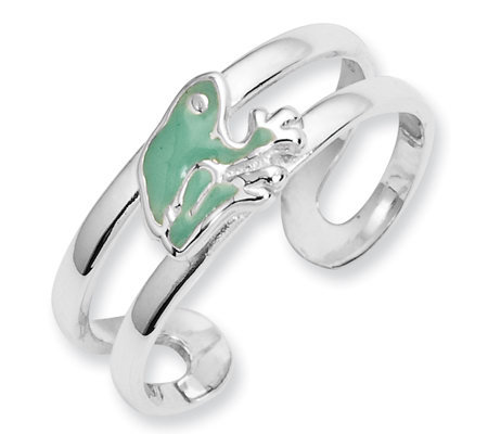 Sterling Enameled Frog Toe Ring