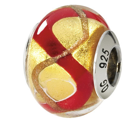 Prerogatives Sterling Gold & Red Italian MuranoGlass Bead