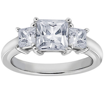 Diamonique 1.50 cttw 3 Stone Princess Cut Ring, Platinum Clad - J111656