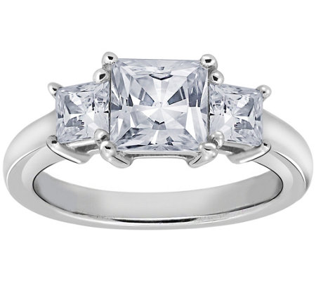 Diamonique 1.50 cttw 3 Stone Princess Cut Ring, Platinum Clad