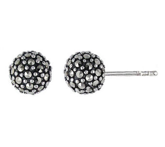 Suspicion Sterling Marcasite Ball Stud Earrings - J112456