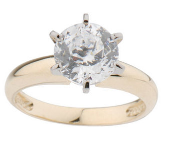 """As Is"" Diamonique 100-Facet 2ct Solitare Ring, 14K Gold - J131556"