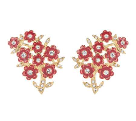 Jacqueline Kennedy Red Wildflower Earrings