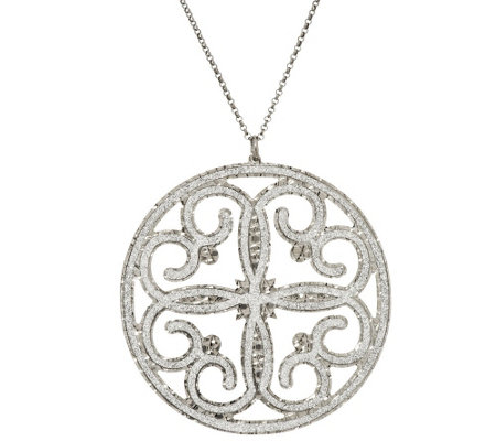 Vicenza Silver Sterling Pave' Glitter Scroll Design Round Pendant w/Chain