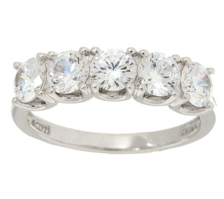Epiphany Diamonique 2.00 ct tw 5-Stone Band Ring