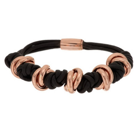 """As Is"" Bronzo Italia Rondel Knotted Cord Bracelet"