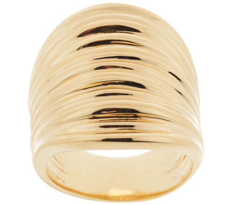 Bronze Bold Polished Ribbed Saddle Ring by Bronzo Italia