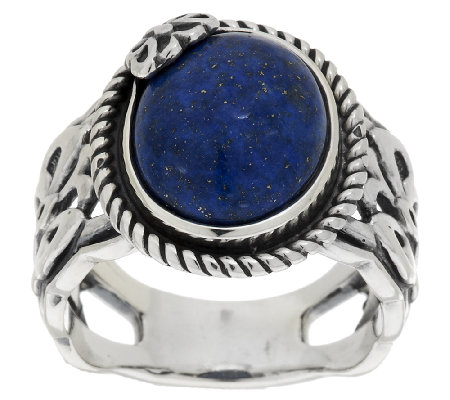 American West Denim Lapis Sterling Butterfly Ring