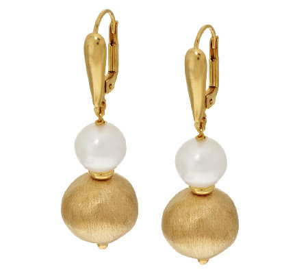 Veronese 18K Clad Cultured Pearl & Satin Bead Dangle Earrings