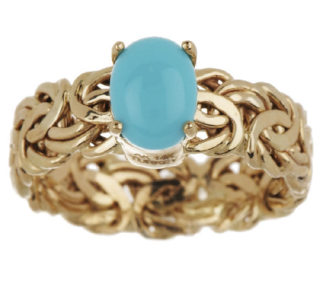 Sleeping Beauty Turquoise Byzantine Ring 14K Gold
