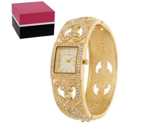 Isaac Mizrahi Live! Pave Crystal Bangle Watch w/ Gift Box