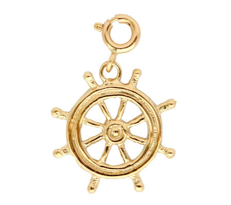 14K Yellow Gold Ship's Wheel Charm