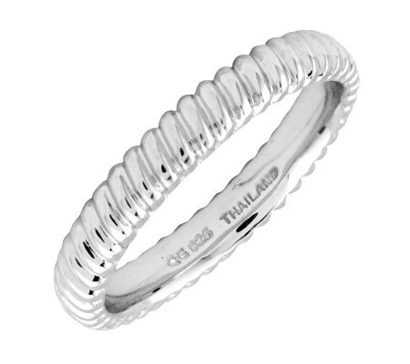 Simply Stacks Sterling Silver Ridged Style 3.25mm Ring