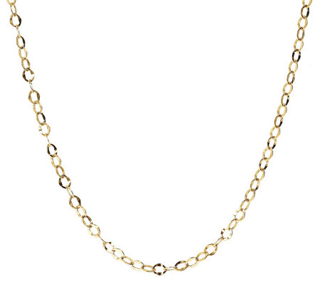 "20"" Hammered Oval Link Chain, 14K Gold 1.8g"