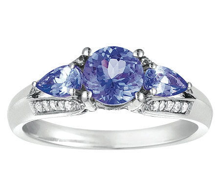 Sterling 1 cttw Tanzanite & 1/8 cttw Diamond Ring