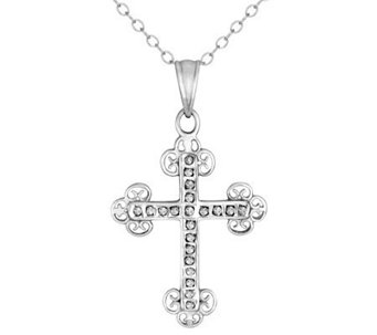 Diamond Fascination Sterling Cross Pendant withChain - J309956