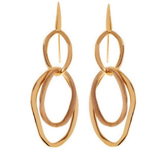 Arte d'Oro Polished and Satin Finish Dangle Earrings, 18K - J310056