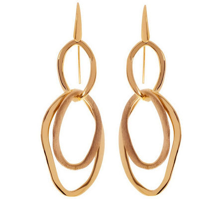 Arte d'Oro Polished and Satin Finish Dangle Earrings, 18K