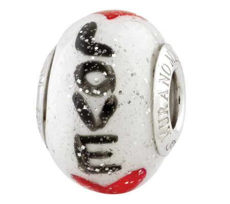 Prerogatives Sterling Love w/ Hearts Italian Murano Glass Bead