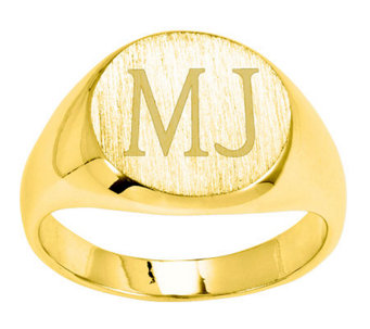 Personalized Satin Round Signet Ring, 14K Gold - J310956