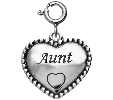 "Sterling Beaded ""Aunt"" Heart Charm"