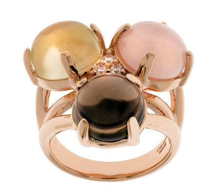 Bronzo Italia Triple Quartz Cluster Ring