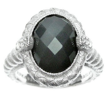Judith Ripka Sterling Diamonique & Gray Moonstone Ring - J312856