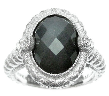 Judith Ripka Sterling Diamonique & Gray Moonstone Ring