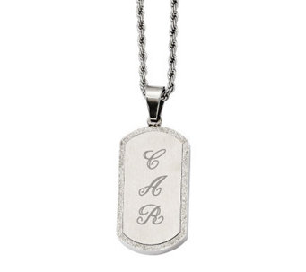 "Stainless Steel Laser-Cut Engravable Pendant with 22"" Chain - J313056"