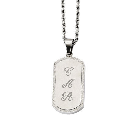 "Stainless Steel Laser-Cut Engravable Pendant with 22"" Chain"