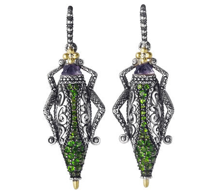 Barbara Bixby Sterling & 18K Pave Grasshopper Earrings