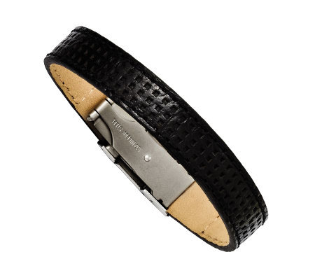 Forza Men's Stainless Steel Black Leather Bracelet