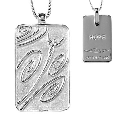"Sterling Life Tag Pendant with 18"" Chain by Steven Lavaggi"