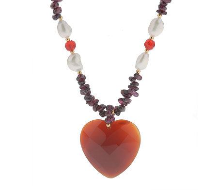 "Lee Sands Faceted Chalcedony Heart & Garnet 30""Necklace"