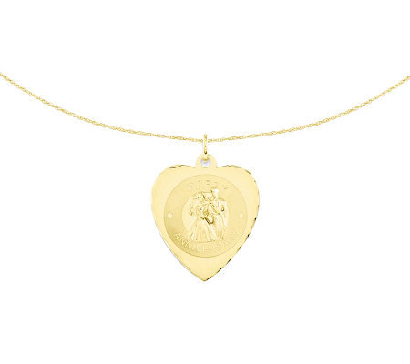 "Bride & Groom Anniversary Heart Pendant w/ 18""Chain, 14K"