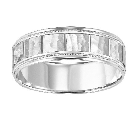 6.5mm Men's Square Pattern Wedding Band, 14K White Gold