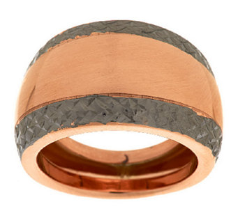 """As Is"" VicenzaGold Two-toned Diamond Cut Domed Ring,14K - J317956"