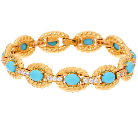 The Elizabeth Taylor Oval Simulated Turquoise Bracelet