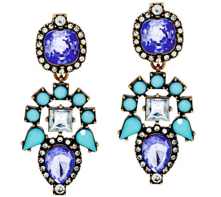 BaubleBar Crystal Aztec Drop Earrings