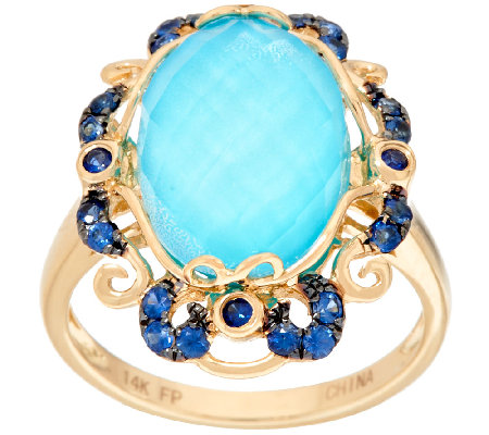 Sleeping Beauty Turquoise Doublet & Sapphire Ring 14K Gold