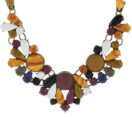 "LOGO Links by Lori Goldstein Cabochon Bib Necklace with 3"" Extender"
