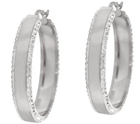Stainless Steel Polished and Crystal Round Hoop Earrings