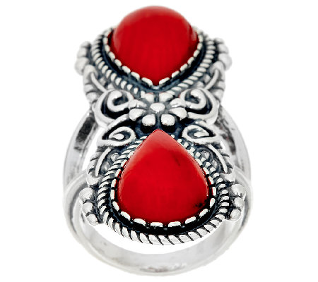 Sterling Silver Red Coral Elongated Ring by American West
