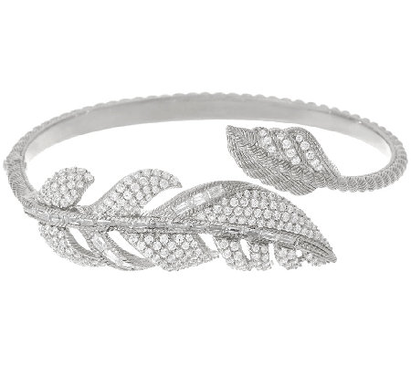 Judith Ripka 3.65 cttw Diamonique Feather Cuff Bracelet