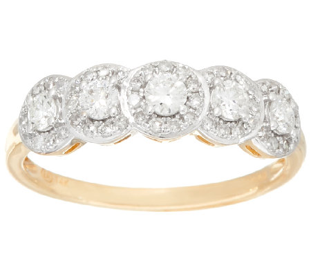 Halo 5-Stone Diamond Band Ring, 14K Gold, 1/2 cttw, by Affinity