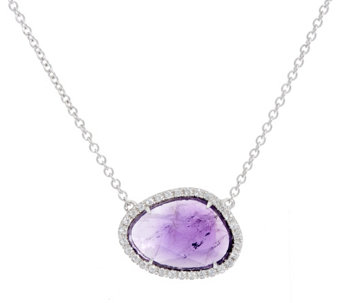 """As Is""Sterling Silver Gemstone Station Necklace by Silver Style - J325856"