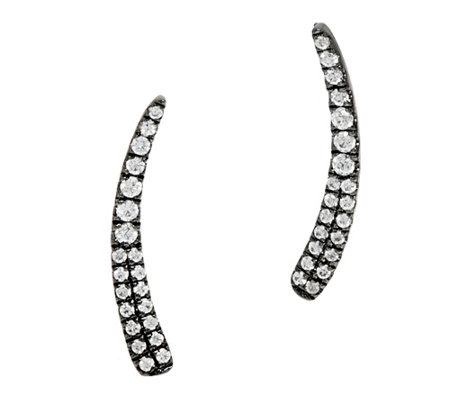 """As Is"" Graziela Zircon Sterling 18K Earring Climber 0.30cttw"